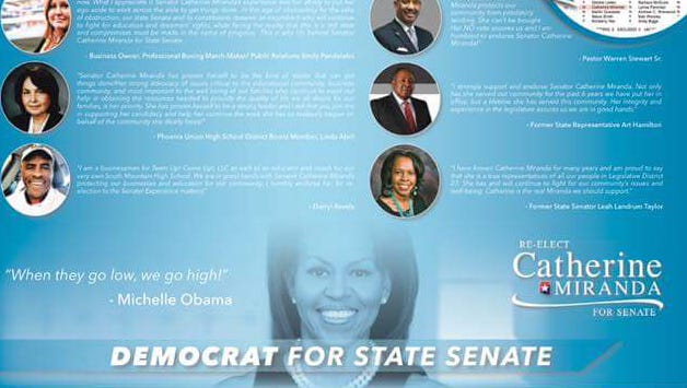 Sen. Catherine Miranda sent out a campaign mailer that includes a photo and quote from first lady Michelle Obama.