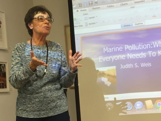 Dr. Judith Weis delivers a lecture at Teaneck Creek Conservancy on Sunday.