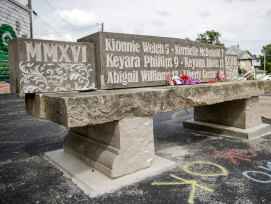 A bench was made to memorialize the four children killed