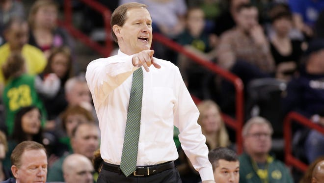 Oregon head coach Dana Altman instructs his team during the first half of a first-round men's college basketball game against Holy Cross in the NCAA Tournament in Spokane, Wash., Friday, March 18, 2016.