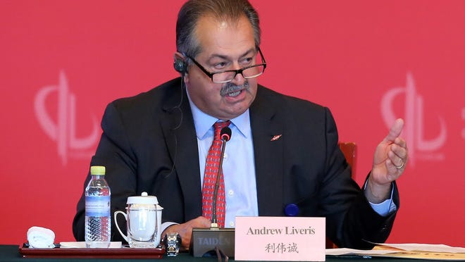 Dow Chemical CEO and Chairman Andrew Liveris said that a deal announced in March with Olin will help the Midland-based company exceed its target to divest $7 billion to $8.5 billion of non-strategic businesses and assets. Dow Chemical is breaking off a significant part of its chlorine operations in a deal with Olin Corp. valued at $5 billion.