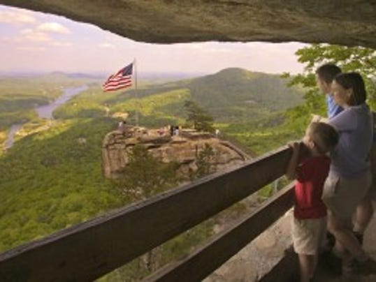 The elevator to the top of Chimney Rock State Park is reopened after a year.