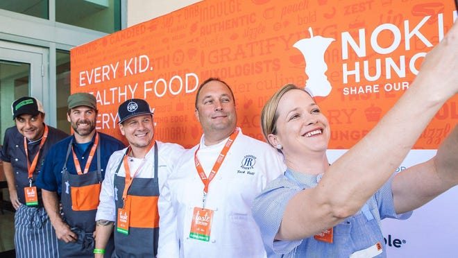 Co-chairs for the local Taste of the Nation event in West Palm include (from right) chefs Lindsay Autry, Zach Bell, Tim Lipman, Clay Conley and Julien Gremaud. The event, which had been scheduled for mid-April, was postoned due to the coronavirus outbreak.