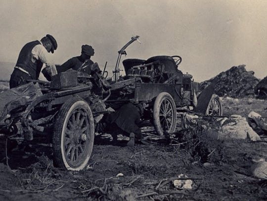 In the flood of 1916 one tire from this automobile