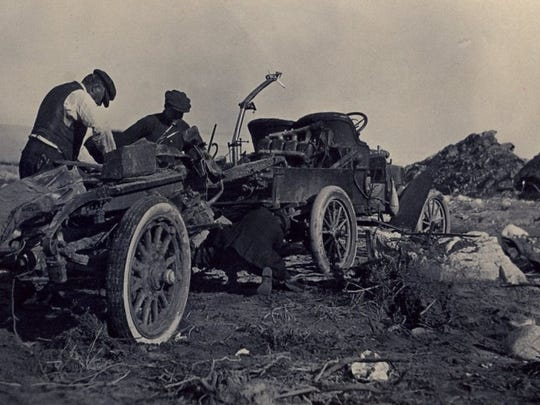 In the flood of 1916 one tire from this automobile ended up in Indio.