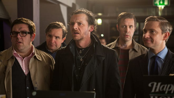 Nick Frost, left, Eddie Marsan, Simon Pegg, Paddy Considine and Martin Freeman embark on an epic pub crawl on what could be the apocalypse in 'The World's End.'