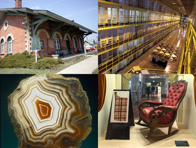 Clockwise from upper left, the Michigan Transit Museum
