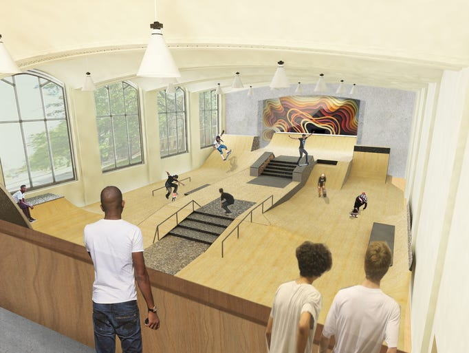 An indoor skatepark at the Hutchins School, in partnership