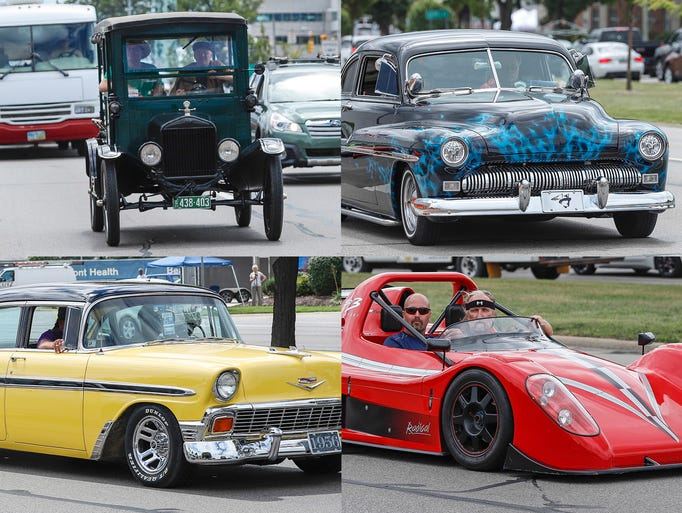 Car enthusiasts drive their classic and modified vehicles