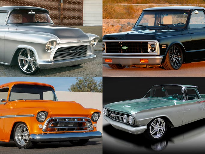 Clockwise from upper left, 1957 Chevrolet 3100 Custom