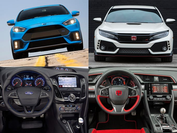 2016 Ford Focus RS, left and the 2017 Honda Civic Type