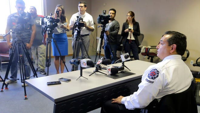El Paso Fire Marshall Orlando Arriola gives an update on the fire investigation involving the death of three family members who resided at Las Casitas Apartments at 9531 Sims on Monday morning. Firefighters pulled Magaly Mendoza, 32, and her daughters, Paulina Ortega, 4, and Andrea Garcia, 11, out of a bedroom in their second-floor apartment just after 4:30 a.m, and were transported to area hospitals, where they later died.