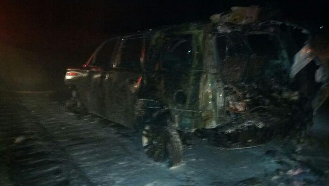 Three adults and five children were able to escape an SUV that was on fire Monday morning in the southbound lanes of Interstate 65.