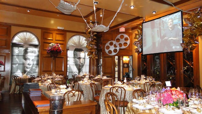 On Feb. 9, Cafe L'Europe, as part of its Oscar party, will decorate its dining areas with movie memorabilia, as seen here at a previous-year party at the restaurant. ]Photo courtesy Cafe L'Europe.