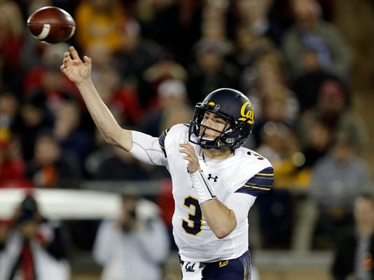 California quarterback Ross Bowers throws against Stanford during the first half of an NCAA college football game Saturday, Nov. 18, 2017, in Stanford, Calif. (AP Photo/Marcio Jose Sanchez)