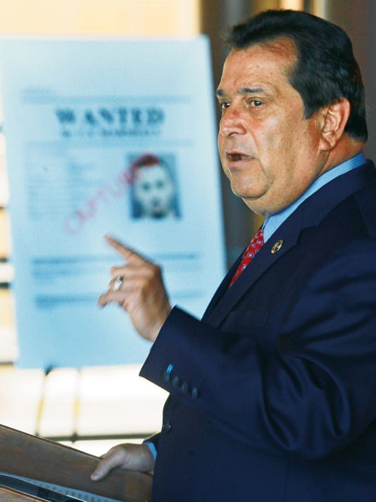 VICTOR CALZADA-EL PASO TIMES Robert Almonte, U.S. Marshal for the Western District of Texas, spoke during a press conference Friday to announce the results of a national crime sweep.