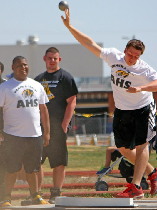 Alex Honkala competes in the shot put Friday afternoon at Tiger Stadium.