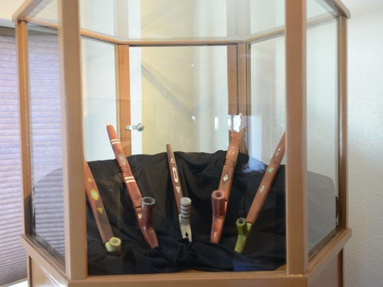 A display of local centenarian Hilman Tobey's handmade ceremonial pipes are on exhibit at the former Field Matron's Cottage, remodeled as the new cultural center for the Reno-Sparks Indian Colony. It reopened on April 16, 2015.
