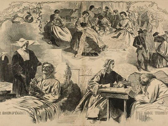 This Harper's Weekly image showed the many ways women helped Union soldiers during the Civil War.