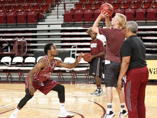 New Mexico State guard Ian Baker is one of two returning