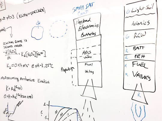 Ryan McDevitt, lead R&D engineer of GreenScale Technologies, and his team worked out their small-scale propulsion system on a white board in the lab at UVM.
