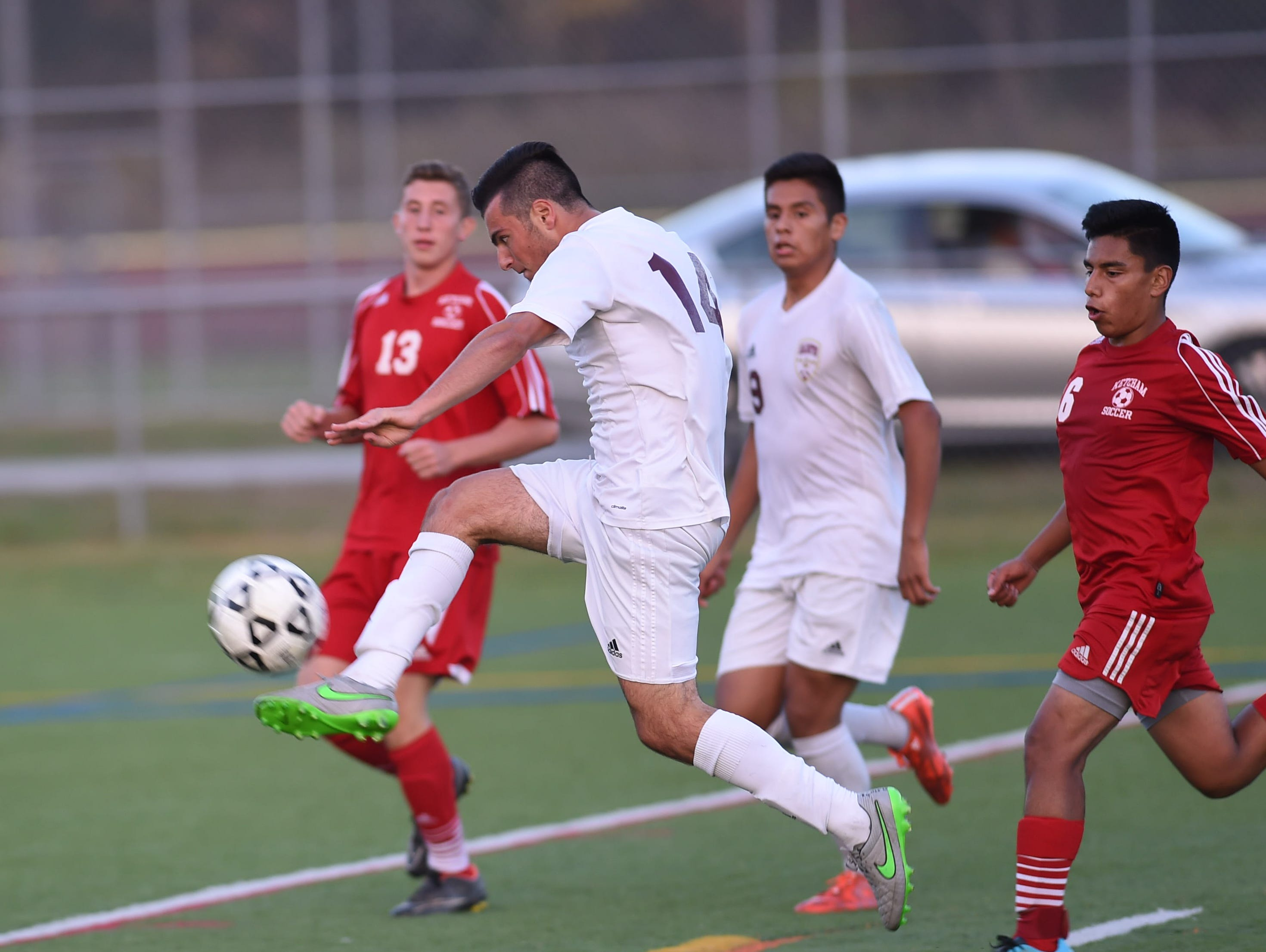 Arlington's Vinny Colantuono takes a shot on goal during Tuesday's game versus Ketcham in LaGrangeville.