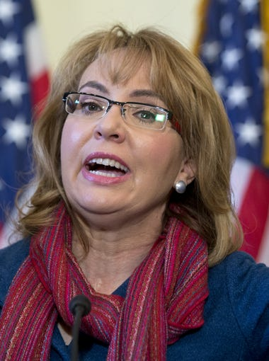 Former Rep. Gabby Giffords  speaks on Capitol Hill in Washington on  March 4, 2015, about bipartisan legislation on gun safety. Giffords was shot in the head during a 2011 rampage in Arizona that left six people dead and a dozen others wounded.