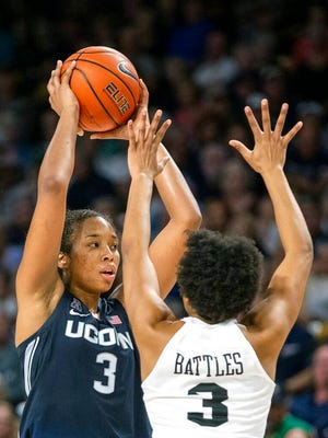 Connecticut forward Megan Walker (3) holds the ball as Central Florida guard Diamond Battles (3) defends during the first half of an NCAA college basketball game in Orlando, Fla., Thursday, Jan. 16, 2020.
