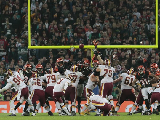 Washington kicker Dustin Hopkins (3) misses a field goal overtime during the NFL International Series game between Washington and the Cincinnati Bengals, Sunday, Oct. 30, 2016, at Wembley Stadium in London, England. The game ended in a 27-27 tie.