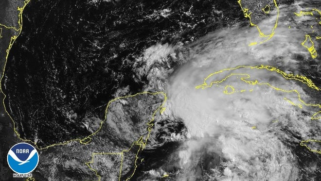 Subtropical Storm Alberto has formed in the Caribbean east of the Yucatan Peninsula.