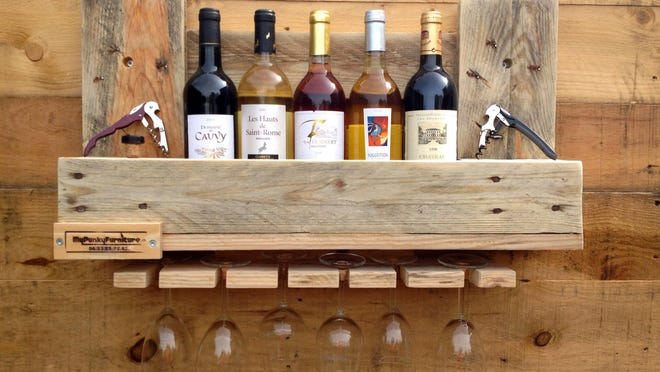A wine rack is seen on the website 1001pallets.com, where crafters can share pictures of their wood-pallet projects.