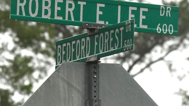 Robert E. Lee Drive and Bedford Forest Drive in the Pine Valley neighborhood. Robert Edward Lee and Nathan Bedford Forrest were American Confederate generals during the American Civil War.