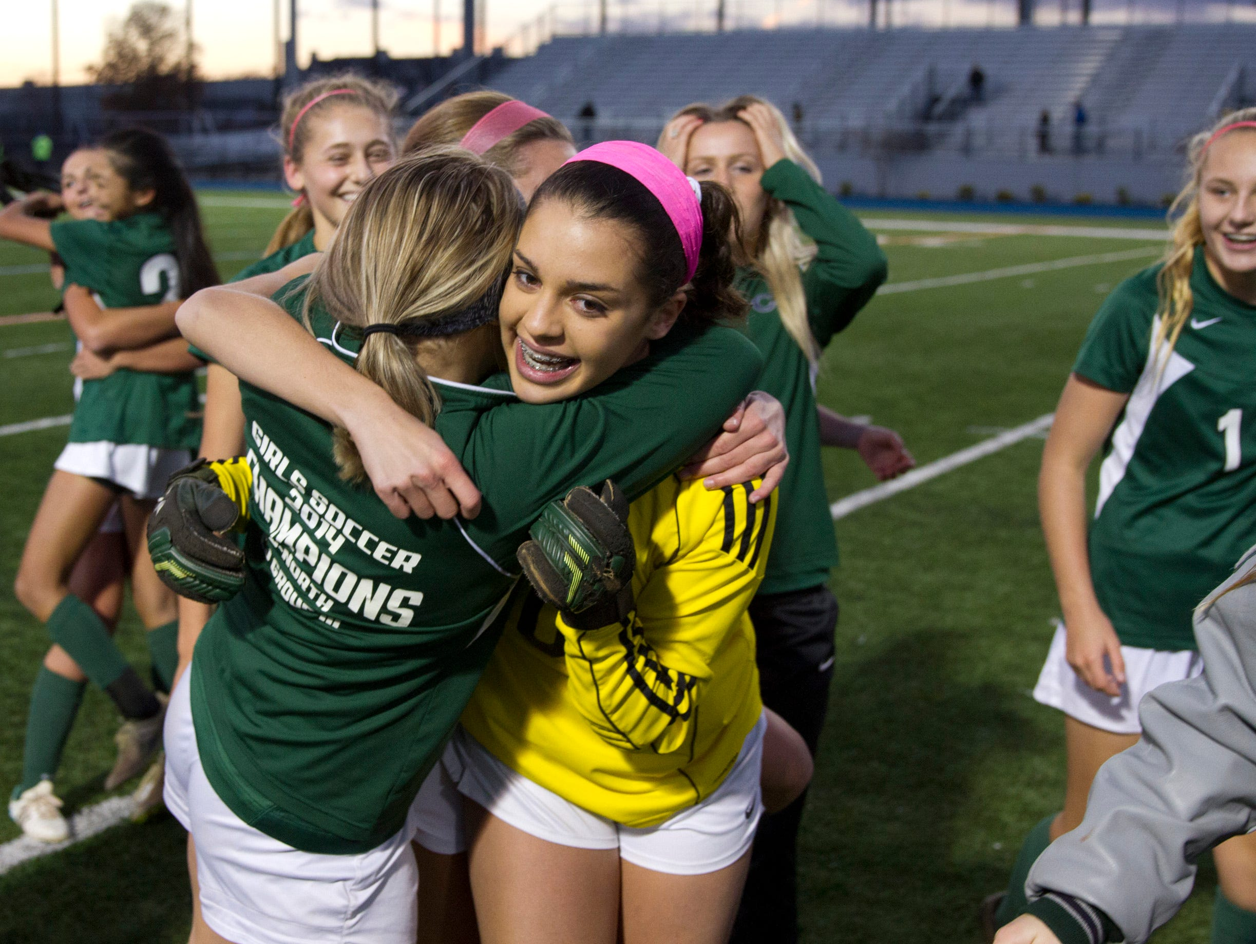 Colts Neck goalie Lauren Feaster who had a great game in shutting out Northern Highlands celebrates with teammates. Colt Necks Girls Soccer vs Northern Highlands in NJSIAA State Group III Championship at Kean University on November 21, 2015 in Union, NJ.