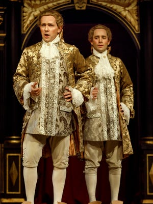 Pictured from left to right, is  Iestyn Davies and Sam Crane in the Shakespeare's Globe production of Farinelli and the King.