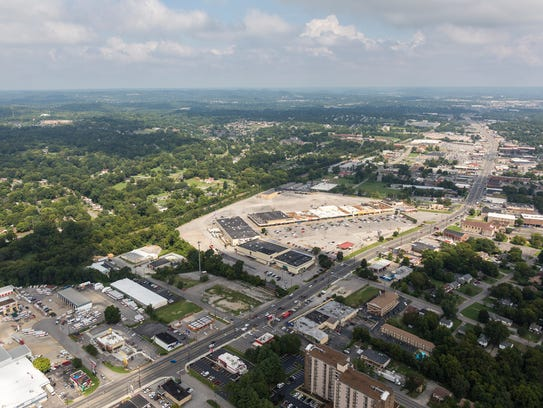 An aerial view of the Madison Square Shopping Center.