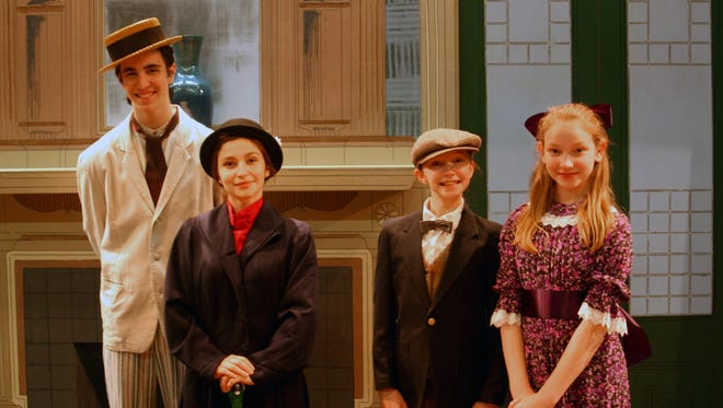 """Starring in the Ithaca High School production of """"Mary Poppins"""" are, from left, Howard Kraskow (Bert), Elisheva Glaser (Mary Poppins), Clare Weislogel (Michael Banks) and Gigi Weislogel (Jane Banks)."""