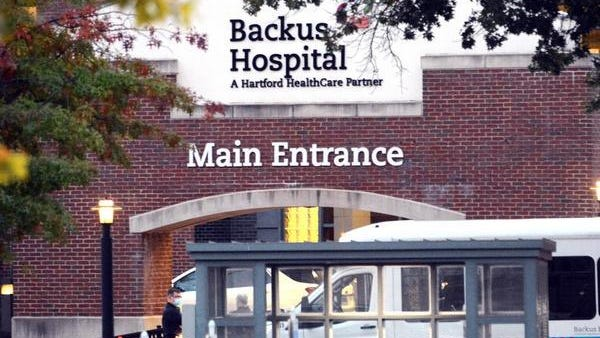 Members of the Backus Federation of Nurses, AFT Local 5149 strike over unfair labor practices outside of William W. Backus Hospital in Norwich Tuesday morning.