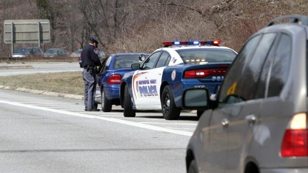 A Westchester County officer pulls over a vehicle on the Taconic State Parkway.