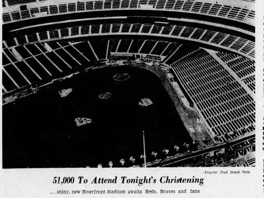 The new Riverfront Stadium in the summer of 1970.
