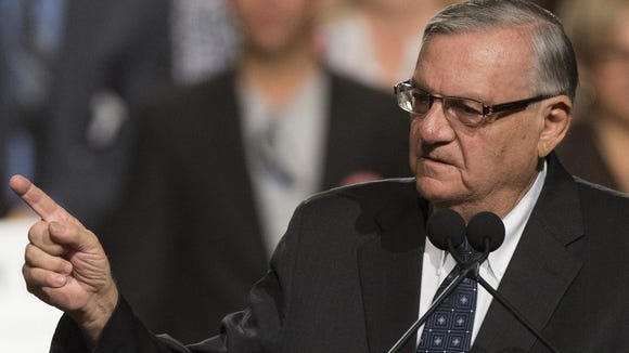 Cheryl Evans/The Republic Sheriff Joe Arpaio said in court in April that information his office received from Dennis Montgomery was ?junk.? Despite earlier doubts, MCSO paid Montgomery at least $120,000. 0710150217el  Maricopa County Sheriff Joe Arpaio speaks during a rally for Republican presidential candidate Donald Trump at Phoenix Convention Center on July 11, 2015.