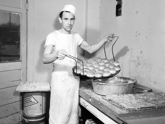 Stanley Krencicki at the North Side Bakery, 1950