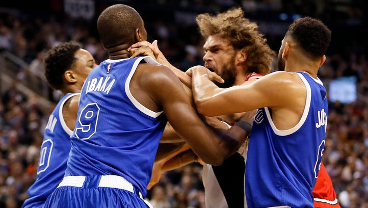 Bulls' Robin Lopez, Raptors' Serge Ibaka ejected after punches thrown