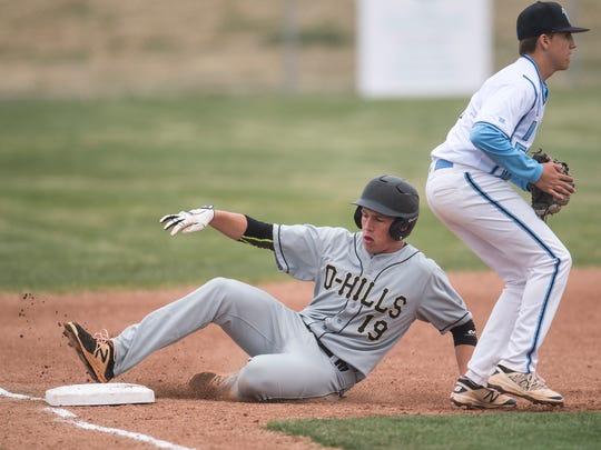 Desert Hills High School's Bo Barben hits a triple