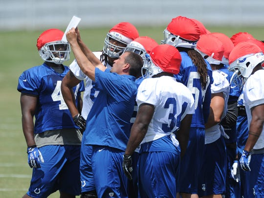 Indianapolis Colts special teams coordinator Tom McMahon directs his unit during training camp.