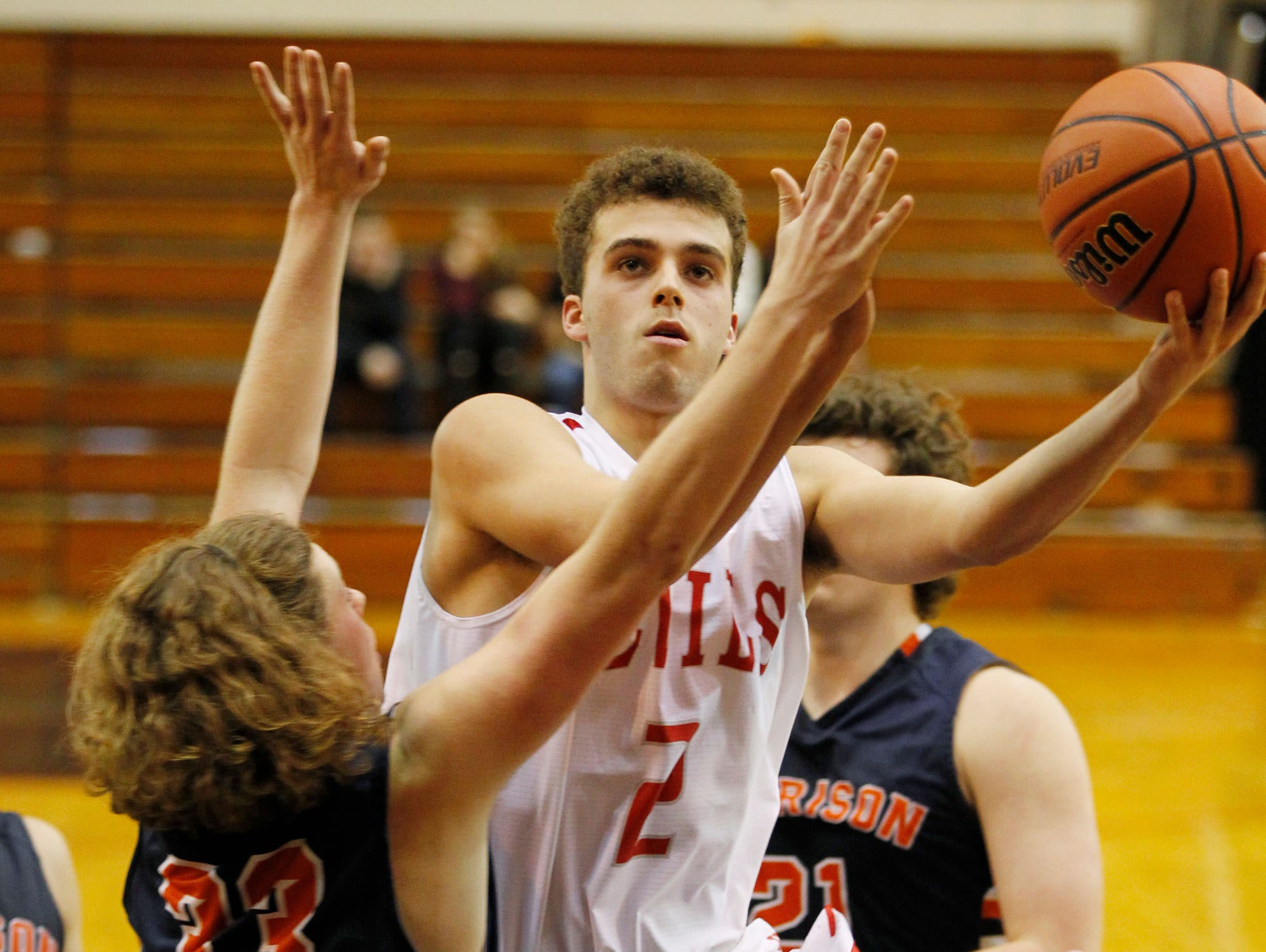 West Lafayette's Charlie Nycz with a drive down the lane against Harrison in the J&C Hoops Classic Tuesday, December 1, 2015, at Lafayette Jeff. Harrison defeated West Lafayette 52-40.