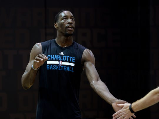 Bam Adebayo works out for the Charlotte Hornets earlier