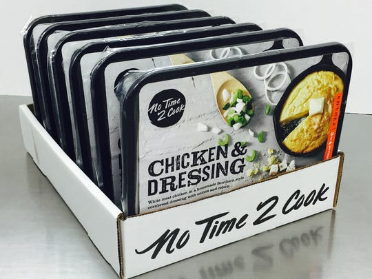 No Time 2 Cook 'Chicken & Dressing' meals await packaging