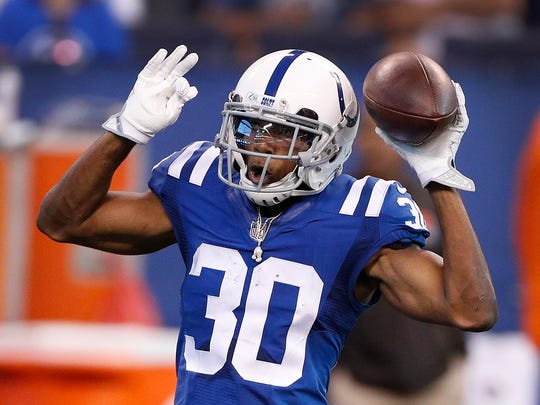 Indianapolis Colts cornerback Rashaan Melvin (30) celebrates after he intercepted a DeShone Kizer pass in the second half of their game at Lucas Oil Stadium Sunday, Sept. 24 2017. The Colts defeated the Browns 31-28.