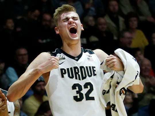 Matt Haarms lets out a scream after a Purdue score in the second half against SIU-Edwardsville Friday, November 10, 2017, at Mackey Arena. Purdue defeated SIU-Edwardsville 105-74.