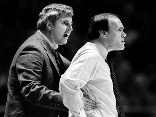 Indiana coach Bob Knight gives Gene Keady, his Purdue